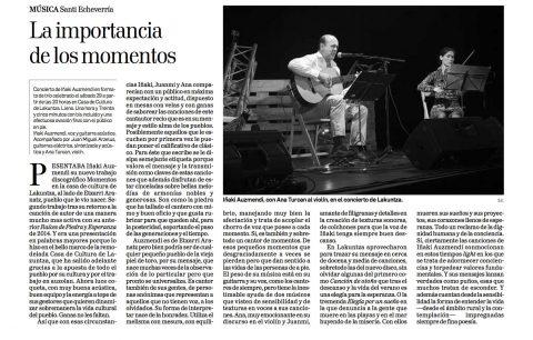 Crítica del concierto de Iñaki Auzmendi en la Casa de cultura de Lakuntza. 6-11-16